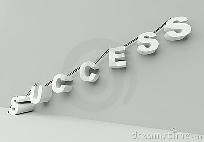 Ladder to success 3d render
