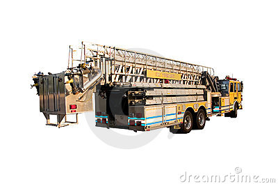 Ladder Truck Back isolated