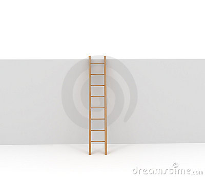 Ladder and Wall isolated on white