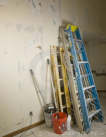 Ladders and scafold against wall during renovation