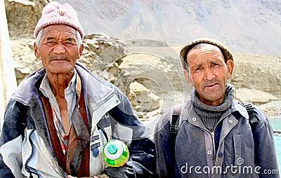 Ladhaki old men Editorial Image