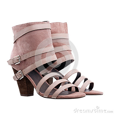 Ladies ankle high summer shoes over white