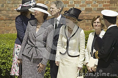 Ladies awaiting arrival of Queen Elizabeth II Editorial Photography