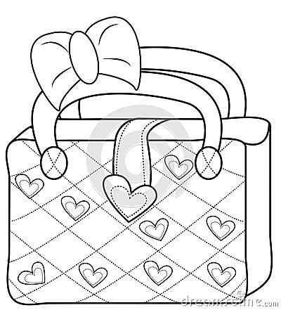 Ladies' Bag Coloring Page Stock Illustration - Image: 50479138