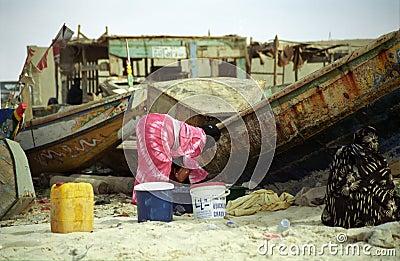 Ladies on the beach, Nouakchott, Mauritania Editorial Stock Image