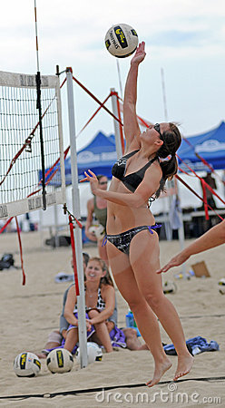 Ladies beach volleyball spike Editorial Stock Photo