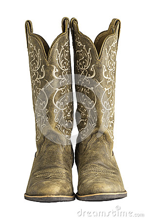 Free Ladies Brown Western Cowboy Boots Royalty Free Stock Photo - 34192045