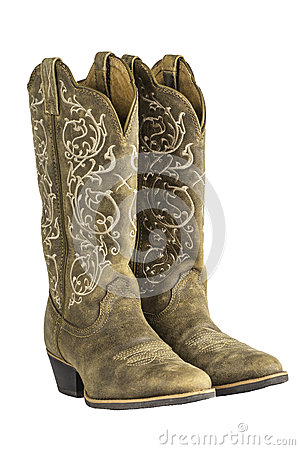 Free Ladies Brown Western Cowboy Boots Stock Photo - 34192090