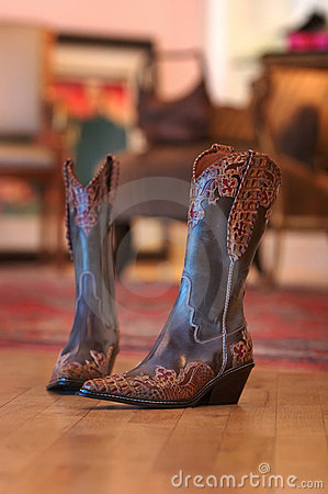 Free Ladies Cowboy Boots Sitting On A Wood Floor Royalty Free Stock Photography - 4663497