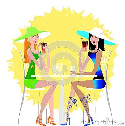 Ladies drinking cocktail
