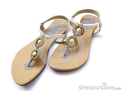 pair of trendy ladies footwear isolated on white