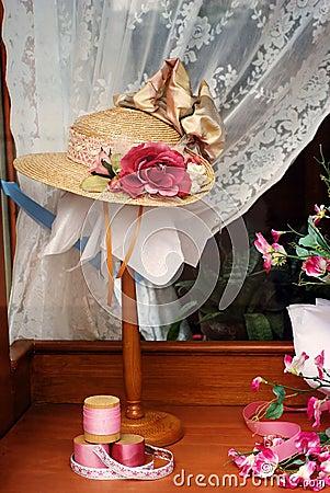 Ladies hat in store window display