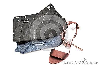 Ladies jeans and sandal