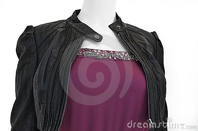 Ladies leather jacket over evening wear