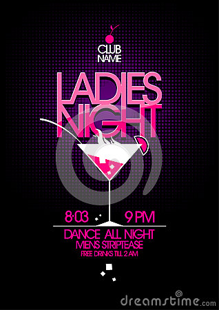 Free Ladies Night Party Design. Royalty Free Stock Photography - 37882497