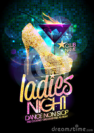 Free Ladies Night Vector Illustration With Gold High Heeled Shoes And Burning Cocktail. Stock Photos - 94413473