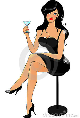Lady in black with cocktail Vector Illustration