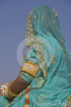 Lady in blue sari Editorial Stock Image