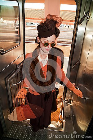 Lady boarding the Troop Train Editorial Stock Image