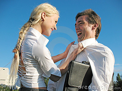 Lady boss talk with man
