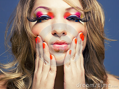 Lady With Bright Makeup Stock Image - Image: 26044371