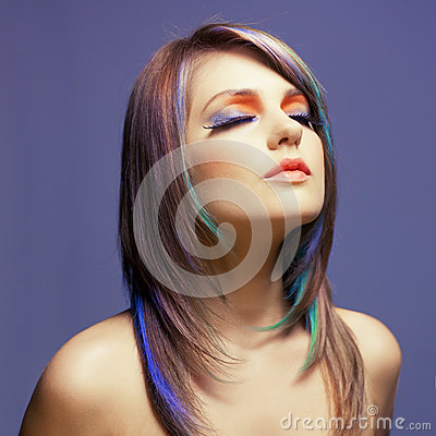 Lady with bright makeup