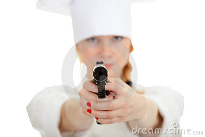 Lady chef with gun