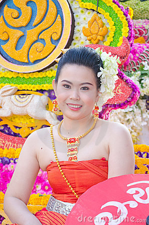 Lady in Chiangmai Flower Festival 36th. Editorial Photography