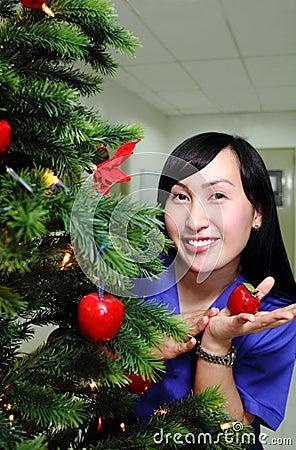 Lady on a christmas tree