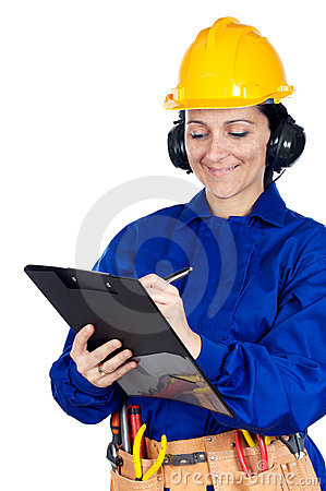 Lady construction worker