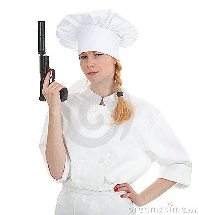 Lady cook with gun