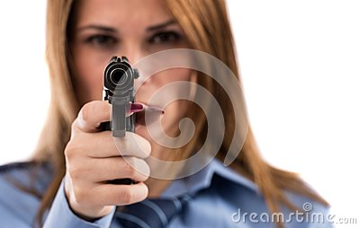 Lady cop posing with gun