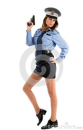 Lady cop posing with gun on white background