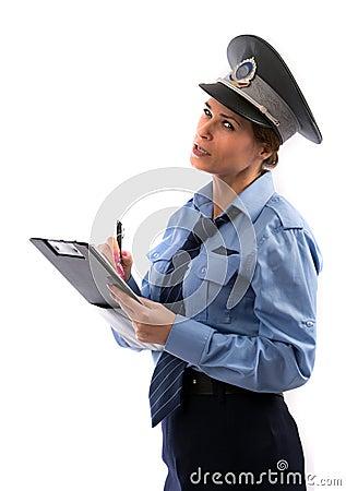 Lady cop write a ticket