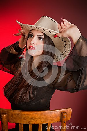 Lady in a cowboy hat