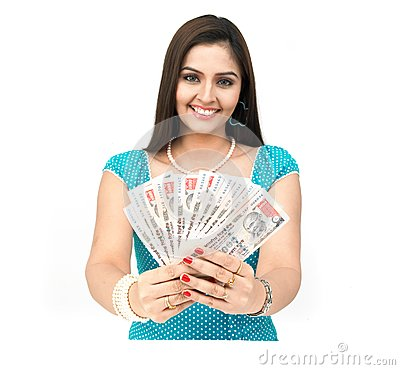 Lady with currency notes