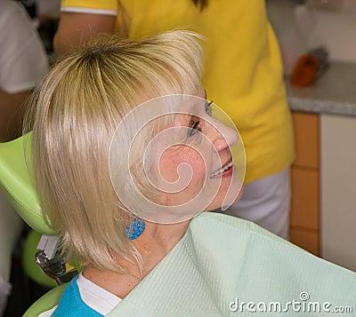 Lady before dental examination