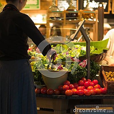 Lady Diner at Salad Bar