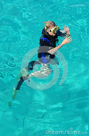 A lady diver on the surface Editorial Photography