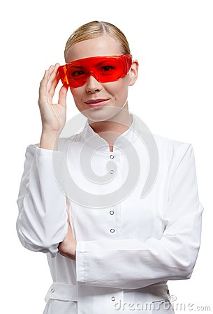 Lady doctor in spectacles