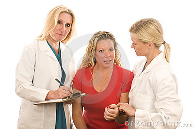 Lady doctors  medical clothes with patient