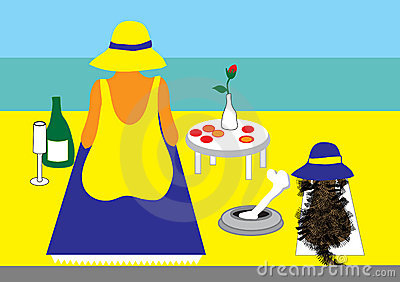 Lady and dog on beach with picnic