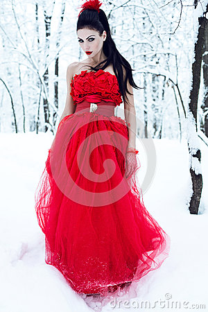 Lady in dress on snow