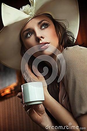 Free Lady Drinking Coffee Stock Image - 14516931