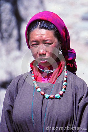 Lady at festival in Ladakh, India Editorial Stock Photo