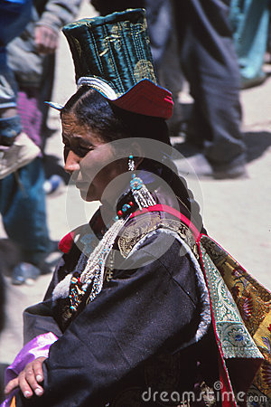 Lady at festival in Ladakh, India Editorial Stock Image