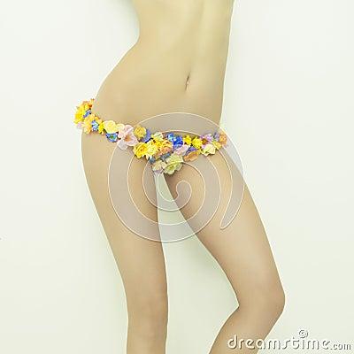 Lady in floral bikini