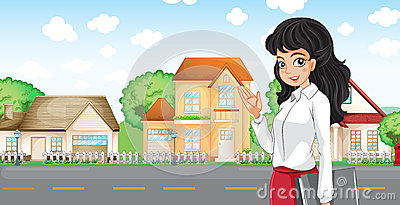 A lady with a formal attire standing across the neighborhood