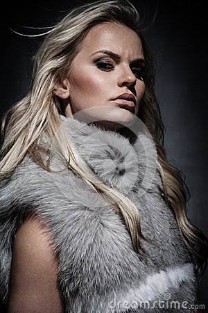 Lady in fur coat Stock Photo