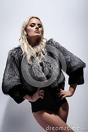 Lady in fur coat Stock Photo